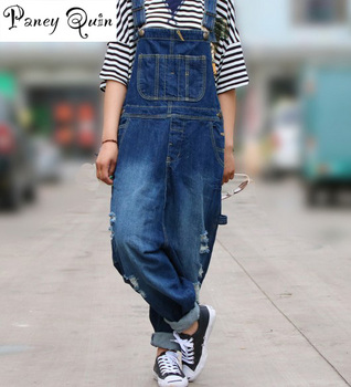 2017 new  big size denim overalls jumpsuit women Casual Loose Solid Overalls Retro Strapless Playsuits Oversized  jeans cowboy plus size women in overalls