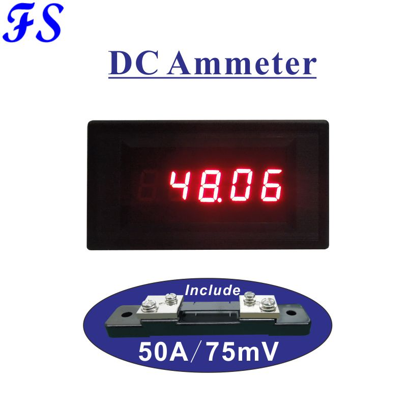 Current Meters Free Shipping Dc 50a 0.4 Led Digital Current Meter Include Shunt 50a/75mv Dc Ampere Meter Dc Ammeter Amp Panel Meter 76*39.5mm