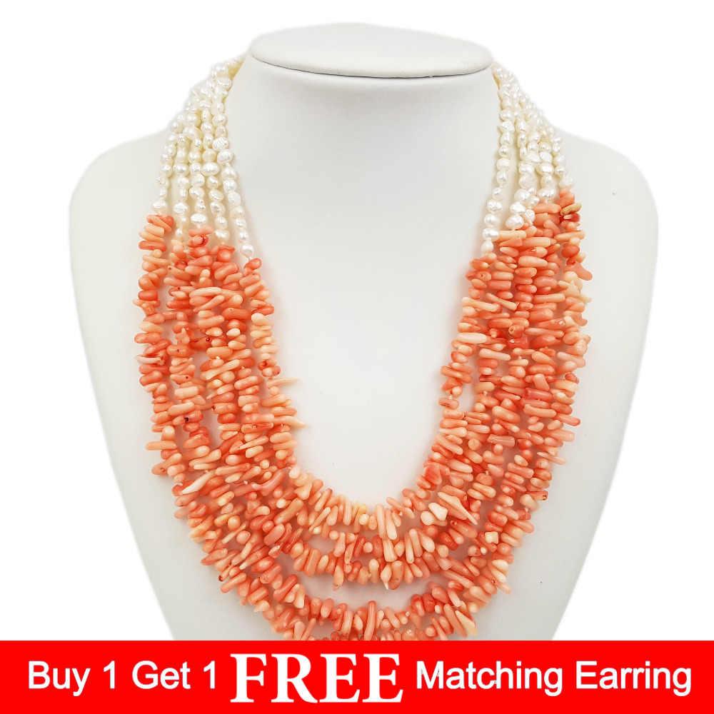 LII Ji краска розовый цвет Коралл Пресноводный Жемчуг 5 рядов ожерелье 50