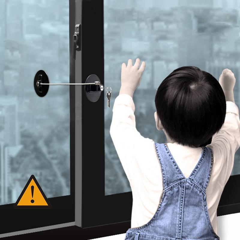 Child Safety Lock Window Refrigerator Safety Limit Lock With Stainless Steel Key Cylinder Baby Safety Protection To Prevent Fall