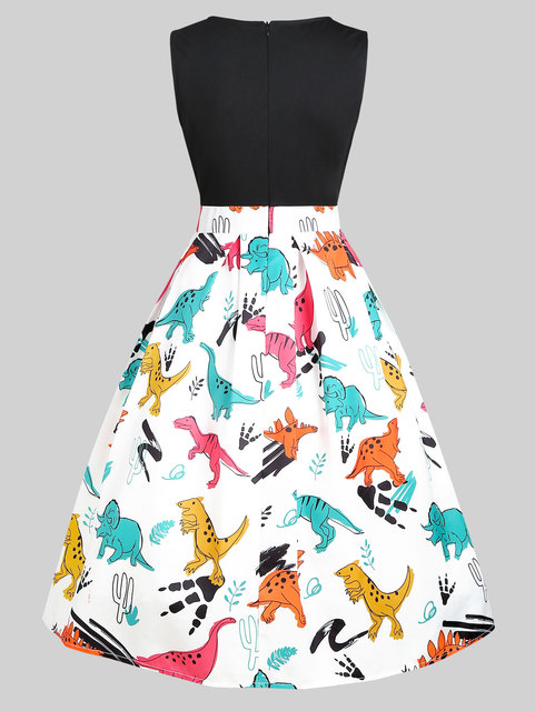Wipalo Vintage Women Dinosaur Print Sleeveless A Line Dress Summer New Fashion O Neck Knee Length Dress Vestidos Women Clothings 2