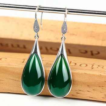 New Vintage Sterling S925 Silver Green Agate Lucky Drop Dangle Earrings - DISCOUNT ITEM  8% OFF All Category