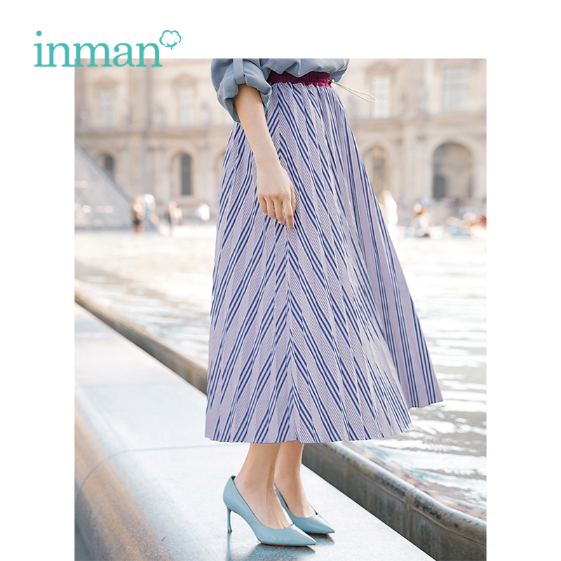 INMAN Spring Autumn High Waist Slim Retro Striped Casual All Matched Loose A-line Women Skirt