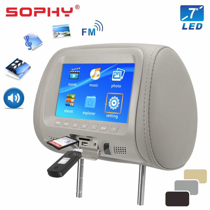 Direct Universal 7 Inches Automobile Car Headrest Monitor Rear Seat Entertainment General USB SD Card Reading