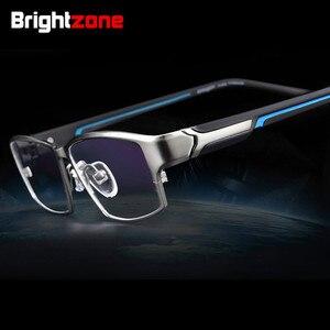Image 1 - Brightzone moda tam jant Ultra hafif ağırlıklı esnek IP elektronik kaplama Metal titanyum jant gözlük erkek gözlük çerçevesi