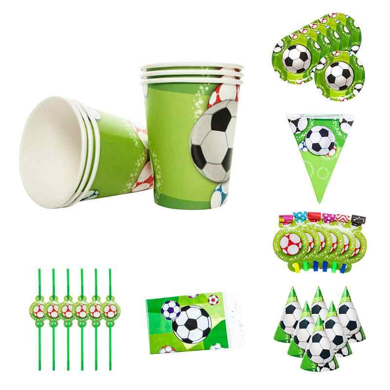 Sports Boy Football Theme Pennant Paper Tray Gift Bag Paper Cap Tablecloth Paper Cup Birthday Party Set