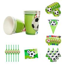 Sports Boy Football Theme Pennant Paper Tray Gift Bag Paper Cap Tablecloth Paper Cup Birthday Party Set children s birthday dinosaur cutlery party supplies set paper hat paper cup paper tablecloth gift bag props