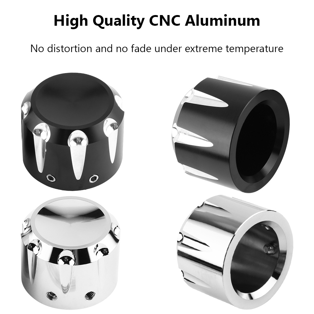 2pcs Motorcycle Axle Nut Caps CNC Aluminum Motorcycle Front Axle Skull Nut Bolt Cover Cap Black