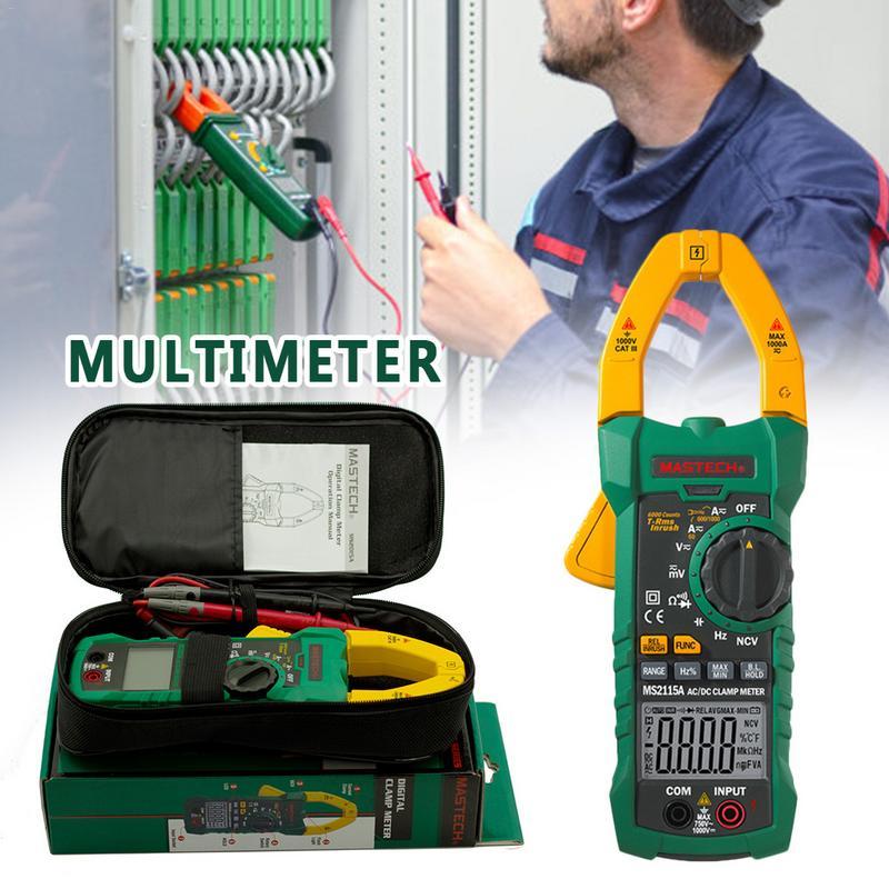 MS2115A Braçadeira AC DC Voltímetro Amperímetro Multímetro Digital Clamp Meter Atual Multi-função de Diodo Testador Fio de Fogo