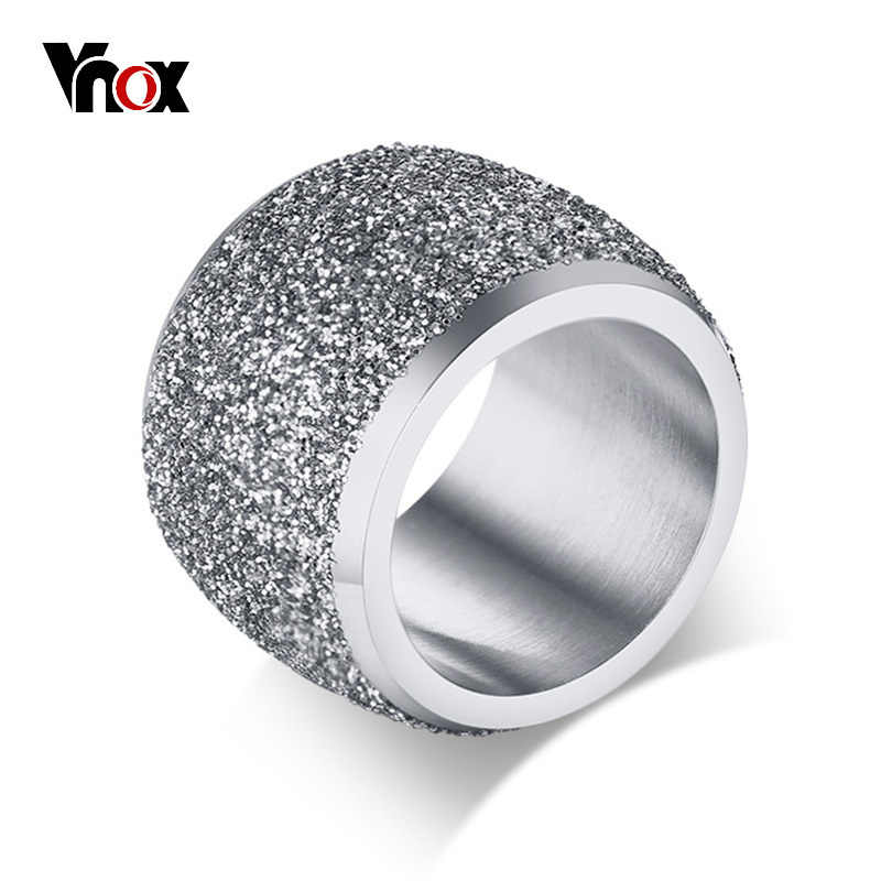 Vnox 16mm Chunky Rings for Women Sandblasting Surface Stainless Steel Bulky  Band Alliance Female Cool Jewelry