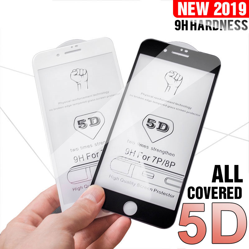 5D Screen Protector Glass On The For iPhone 6 6s X 7 8 Full Cover Tempered Glass For iPhone 7 8 Plus XR XS MAX Protection Film Phone Screen Protectors  - AliExpress