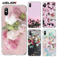 USLION Rose Flower Silicone Phone Case For iPhone X XR XS Max Floral Leaves Cases for iphone 7 8 6 6S Plus Soft TPU Back Cover