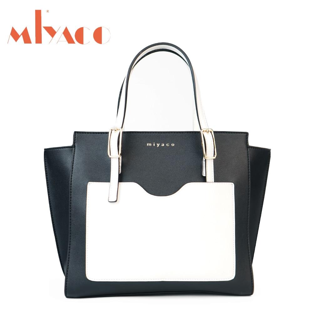 Miyaco Women Handbag Trapeze Bag Famous Brand Female Shoulder Bag Messenger Bags PU Leather Tote Bag Black White