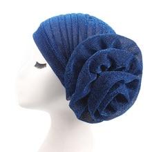 Glitter Bling Muslim Turban India Cap Big Flower Headband Wedding Party Headwrap Women Hats Gold Silk Knot Twist