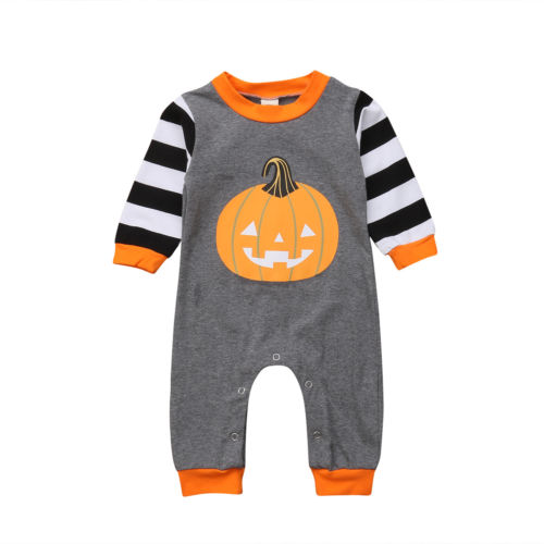 Toddler Baby Boys Girls Long Sleeve Halloween Pumpkin   Romper   Cotton Cute Warm Autumn Clothes Baby Girl 0-24M Outfits
