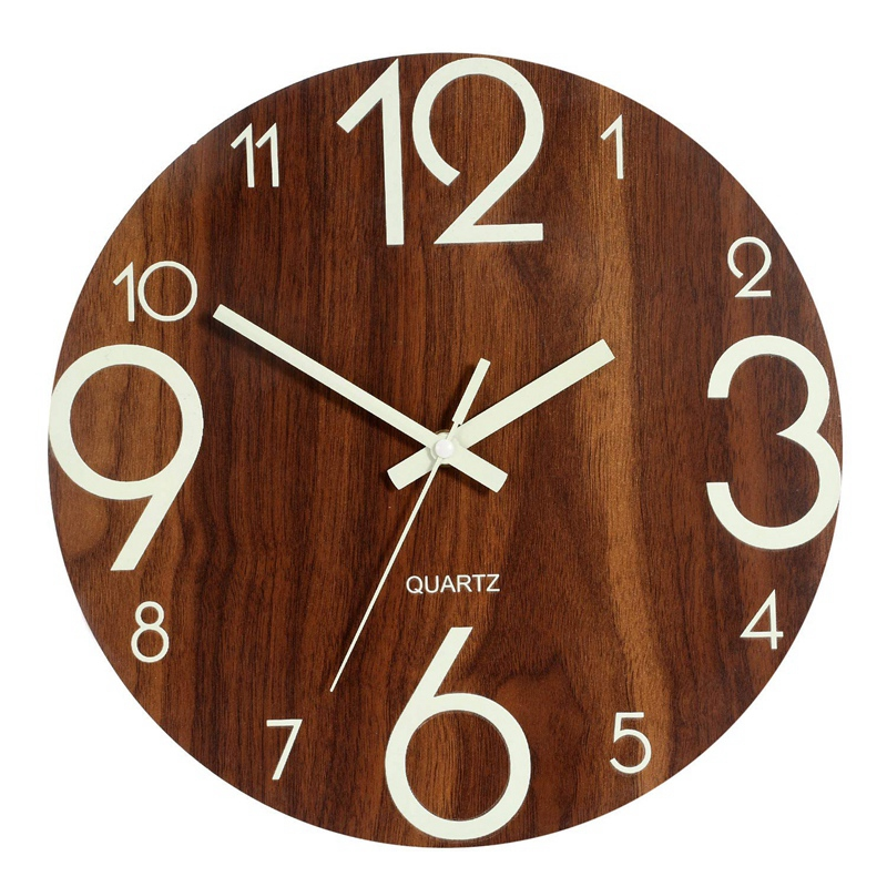 SNNY-Luminous Wall Clock,12 Inch Wooden Silent Non-Ticking Kitchen Wall Clocks With Night Lights For Indoor/Outdoor Living Roo