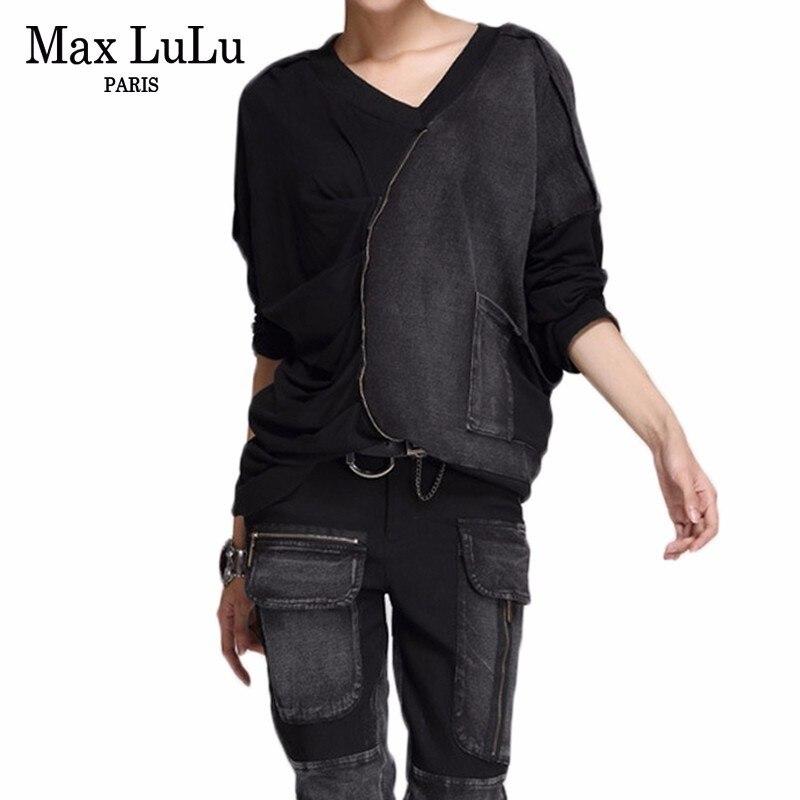 Max LuLu printemps 2019 mode coréenne Streetwear dames col en V Crop hauts et pantalons femmes Sexy deux pièces ensemble Vintage Club tenues