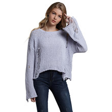 89e687da4a52e Wipalo Sexy Women Pullover Irregular Edge Round Collar Velour Yarn Sweater  Solid Color Long Sleeve Casual Loose Tops Knit Jumper