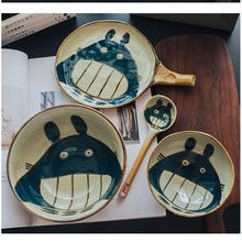 Totoro Hand-painted Ceramic Rice Bowl Set Cutlery Lovely Japanese Cartoon Mug Dish Spoons Tableware Dishes and Plates Sets Gift