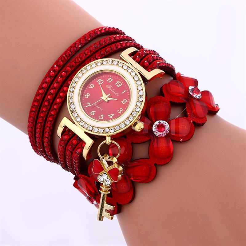 2019 Women'S Casual Vintage Multilayer Wristwatch Weave Wrap Leather Bracelet Wrist Watch Red Flower Watches