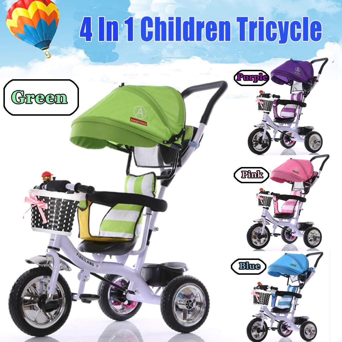 4 in 1 Baby Trolley Bicycle Baby Bike Children Tricycle Kids Trikes Hand Push Folding Bikes