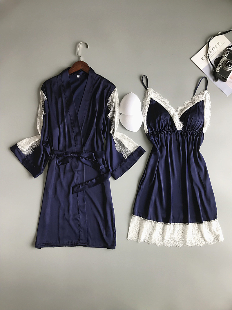 Image 4 - 2019 Summer Women Robe Gown Sets With Chest Pads Sexy Satin Bridesmaid Silk Sleepwear Lace Nightdress Sleeveless Dress Gown-in Robe & Gown Sets from Underwear & Sleepwears