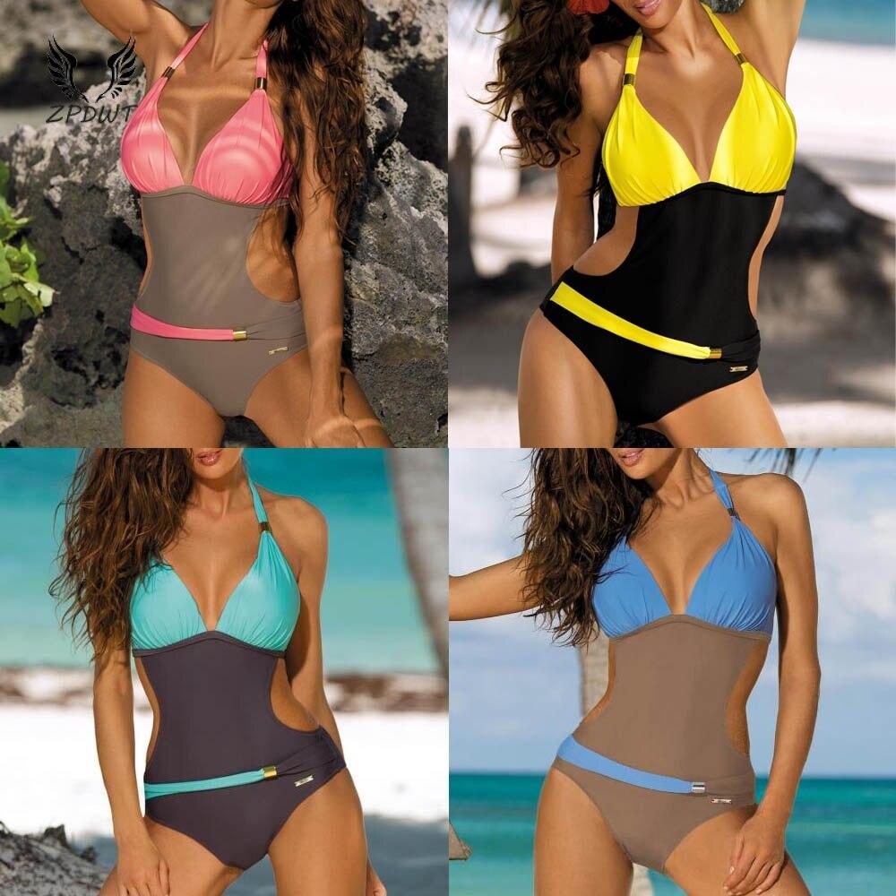 c144b98a65dc72 Zniżka Nowy Plus rozmiar jeden kawałek strój kąpielowy Push Up Halter szyi  kuria dresy sportowe body stroje kąpielowe kobiety strój kąpielowy Monokini  strój ...