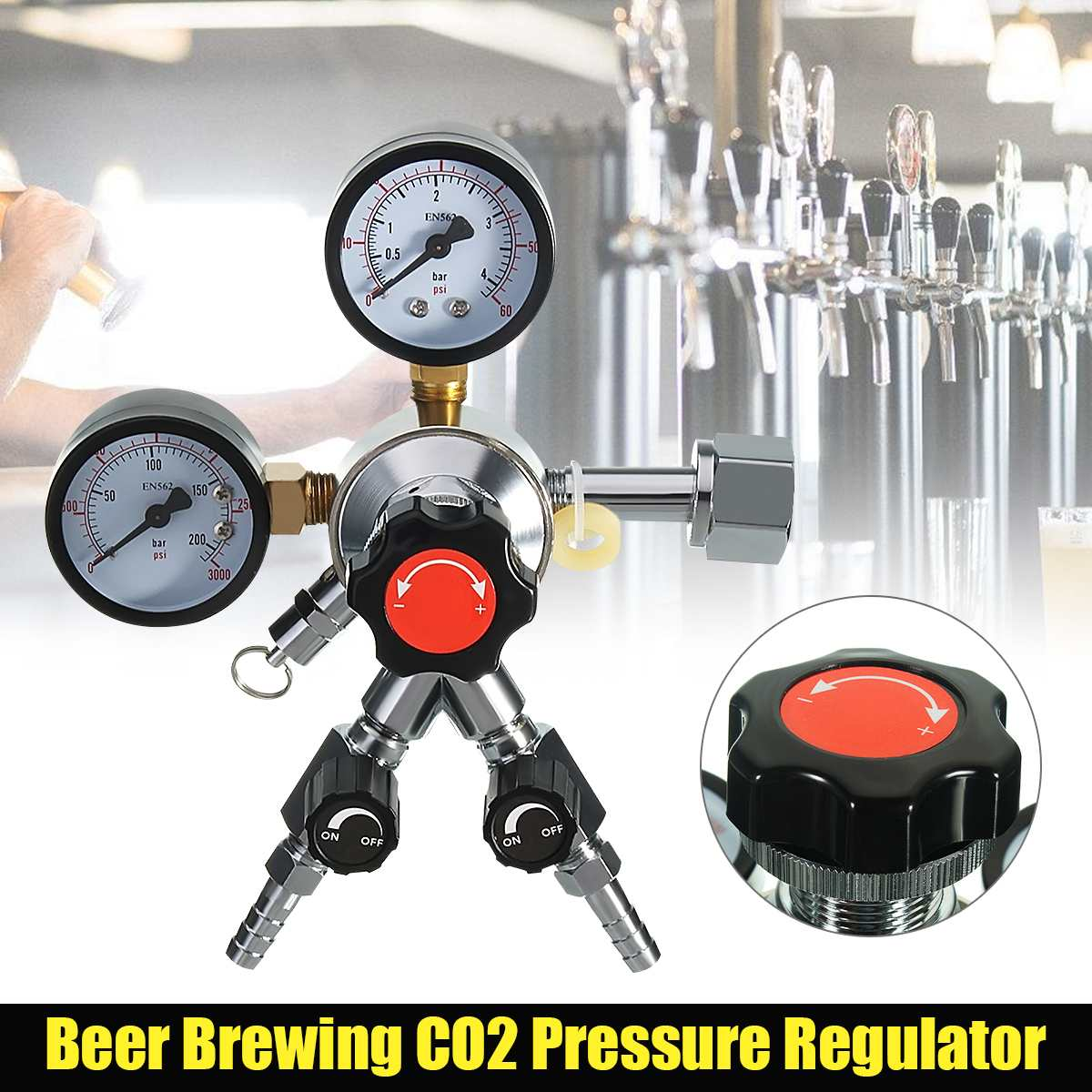 Homebrew CO2 Regulator Beer Brewing Kegerator Bar Triple Gauge Valve 5/16 CGA320 1/4NPT Bar AccessoriesHomebrew CO2 Regulator Beer Brewing Kegerator Bar Triple Gauge Valve 5/16 CGA320 1/4NPT Bar Accessories