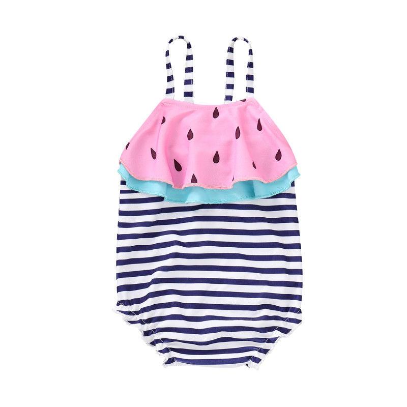 2019 Summer Toddler Kid Baby Girl Watermelon Swimwear Child One Piece Swimsuit Striped Bodysuit Swimming Wear Bathing Suit Купальник