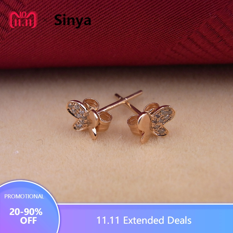 Sinya 18k Gold Diamond Stud earring Rose gold Butterfly fashion design high luster fine jewelry for women ladies girls Hot sale 18k rose gold women stud earrings double balls fine engaged wedding jewelry fashion female delicate gift hot sale trendy party