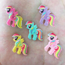 10PCS Resin Hand-paint Cute Horse Flatback Stone Child Scrapbook Buttons Crafts R73(China)