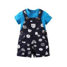 HI&JUBER 2019 New Kids Girls Clothes Set Baby Girls T-shirt+  Overall Shorts 2Pcs Girls Summer Clothing Outfits цена
