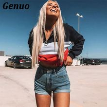 Genuo Color Block Long Sleeve Hoodies Sweatshirt Women High Neck Zipper Stripe Patchwork Crop Top 2018 Autumn Casual Pullovers