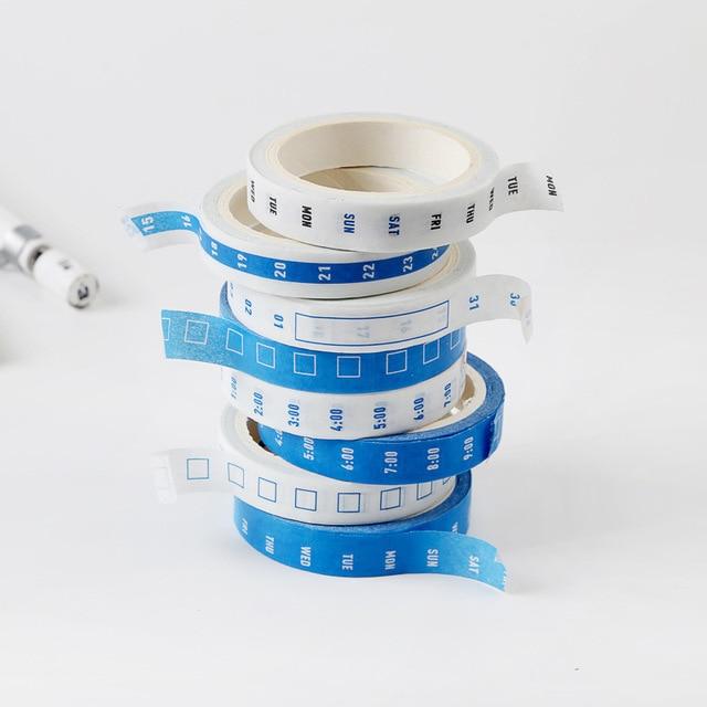 4 unids/set cinta adhesiva práctica semana Plan hora eje calendario entramado cinta adhesiva diario pegatina decorativa Linda papelería