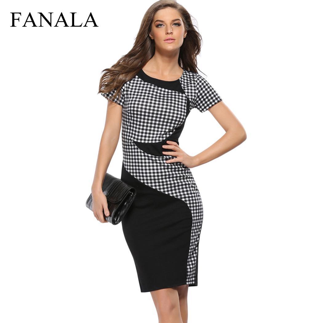Plus Size XXXL Women Summer Dress 2019 Casual Vestidos O Neck Short Sleeve Patchwork Knee Length Zipper Pencil Bodycon Dresses