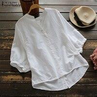 Плюс Размеры ZANZEA 2019 летнее винтажное, с рукавами до локтя с v-образным вырезом Для женщин блузка сплошной работа ПР рубашка с хлопком Топ пов...