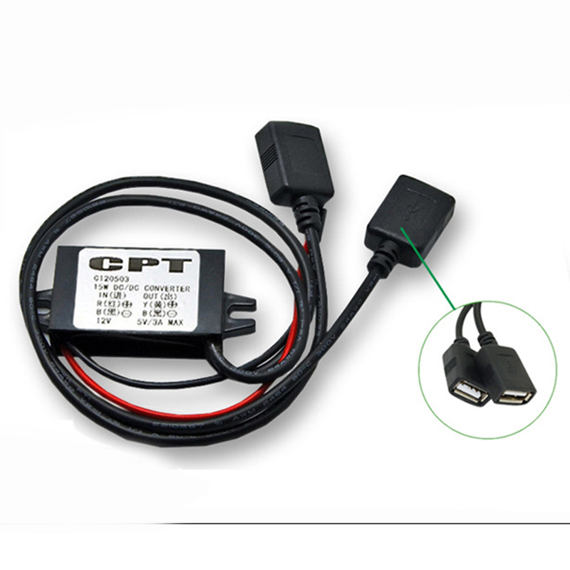 1 шт. двойной USB конвертер питания водонепроницаемый автомобильный мотор зарядное устройство адаптер разъем 3A 12В до 5В