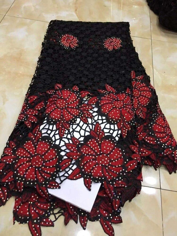 Rouge/noir nouveau Design africain cordon dentelle tissu 2018 suisse Voile dentelle brodé français maille dentelle tissu de haute qualité pierres-in Dentelle from Maison & Animalerie    1