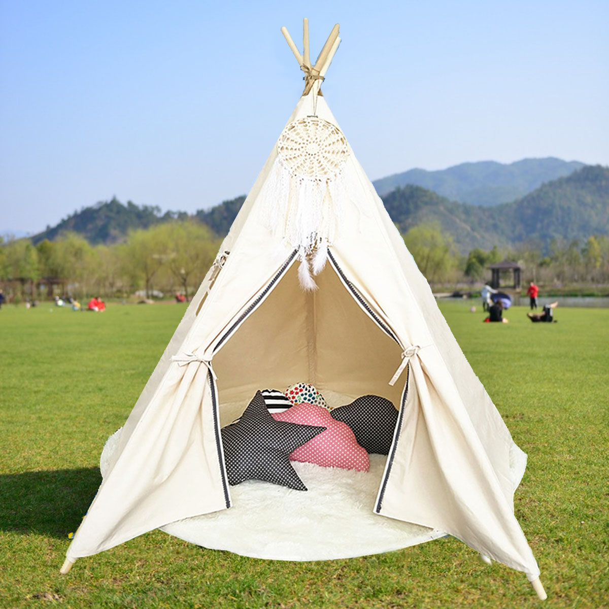 Large Kids Children Princess Tent Net Home Canvas Pretend Play Tipi Outdoor Indoor Adult Canopies Home Bedroom Decoration