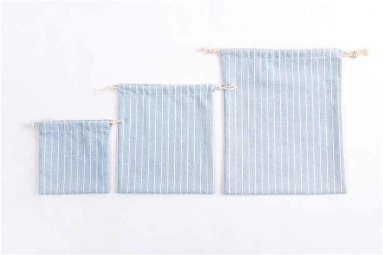 Wanita Katun Serut Tas Belanja Kain Pembelanja Tas Jinjing Stripe Fashion Eko Bisa Lipat Kelontong String Tas
