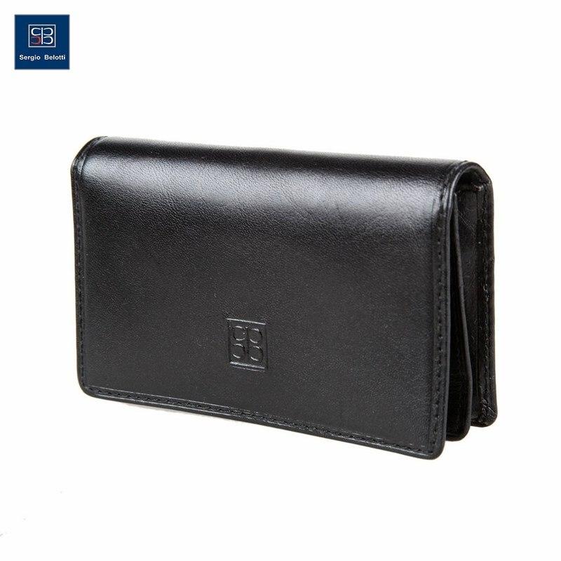Business Card Holder Sergio Belotti 1440 Milano black short genuine leather cowhide men wallet business card coin money male purse card holder