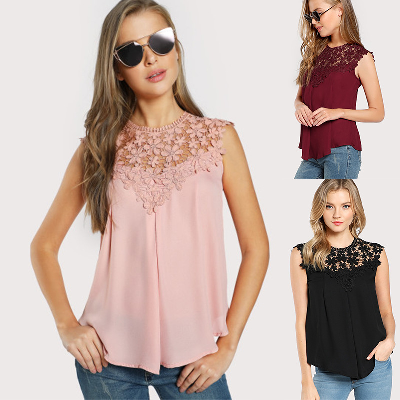 Blouses & Shirts Orderly 2019 Summer Women Tops Clothing Spring Casual Streetwear Lace Hollow Panel Chiffon Shirts Vest Female Office Work Blouses