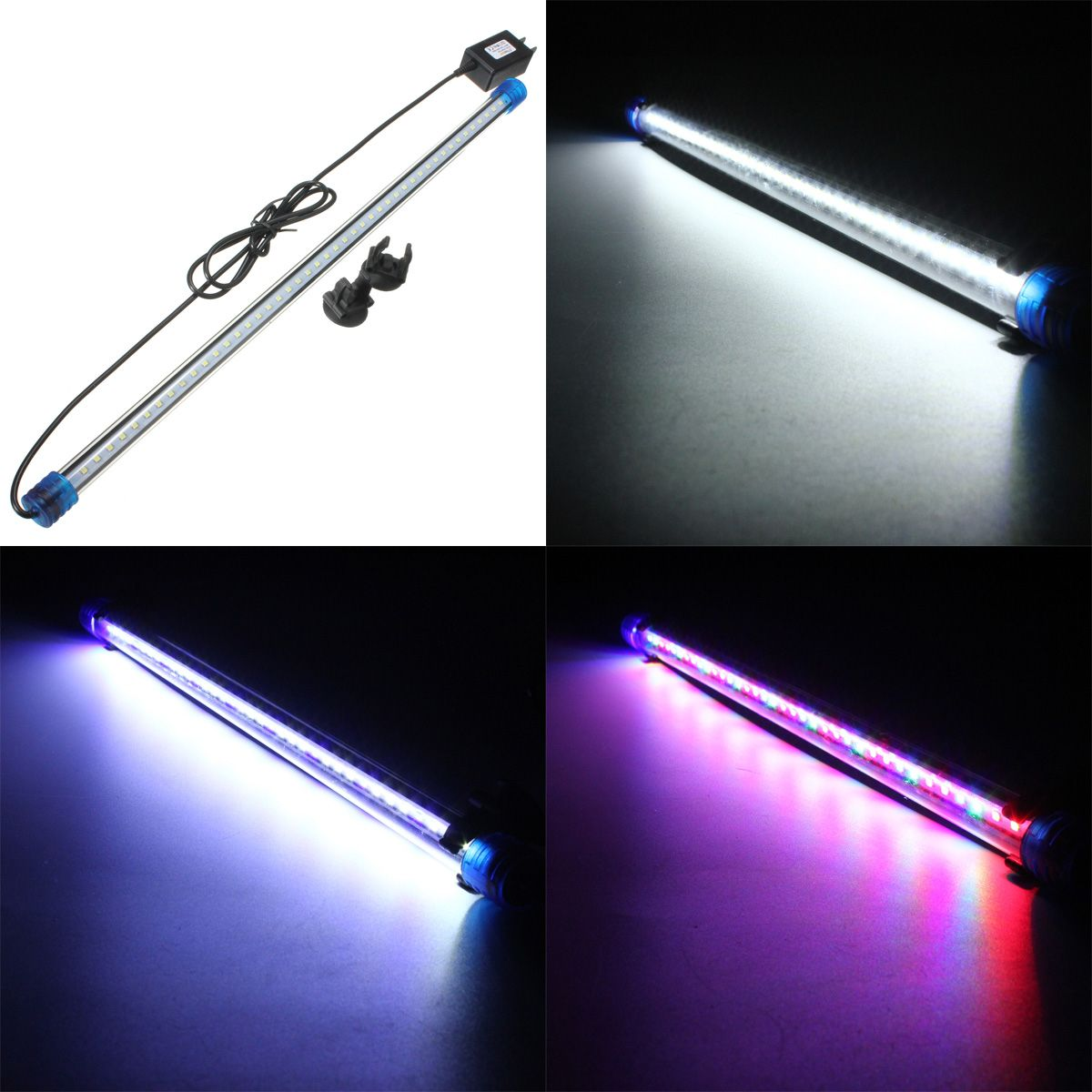 Waterproof LED Aquarium Lights Fish Tank Light Bar RGB/Blue/White 50CM Submersible Underwater Clip Lamp Aquatic Decor US AC220V