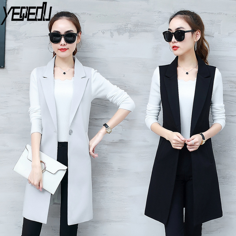 0702 Spring Autumn Elegant Sleeveless Jacket Suit Vest Women Long Plus Size 3XL Slim Waistcoat Female Blazer Vest Black Grey in Vests amp Waistcoats from Women 39 s Clothing