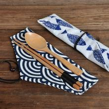 1PC Japan Style Cutlery Bag Portable Tableware Knife Forks Cutlery Glasses Container Cloth Bag Lucky Print Pattern For Travel heart print glasses bag
