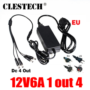Image 1 - High Quality 12V6A EU power adapter 4 out AC/DC Adaptor 100V 240V Converter Adapter Power Supply Plug 1 to 4 Male Power Splitter