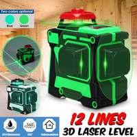12 линий зеленый/синий Крест линии лазерный уровень 638nm/808nm 3D 360 градусов вращения автоматическое выравнивание горизонтальные вертикальный л...