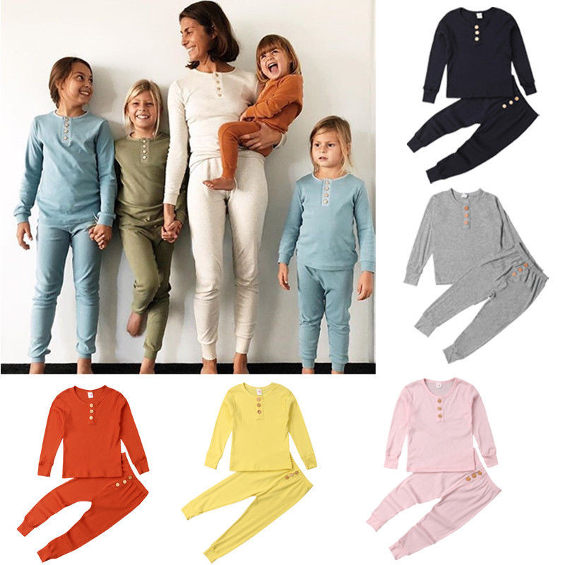 Outfits Pajama-Sets Long-Pants Girl Boys Kids Cotton Casual 2pcs Solid 0-6Y Tops Pullover