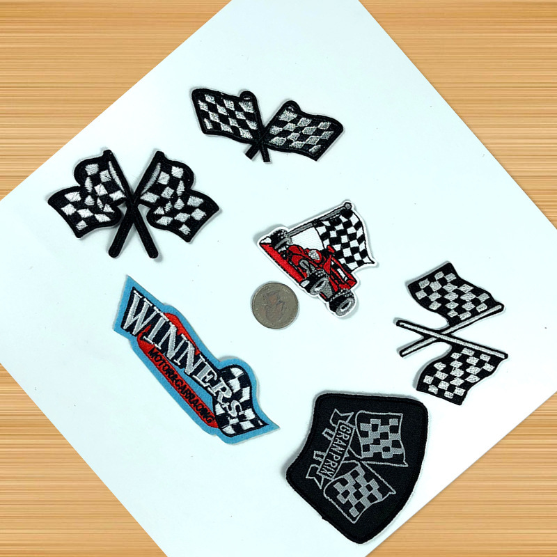 PGY Iron On Rock Motorcycle Patches For Clothes Embroidery Applique Cartoon Racing flag Patch Jeans Iron Sticker For Kids Badges