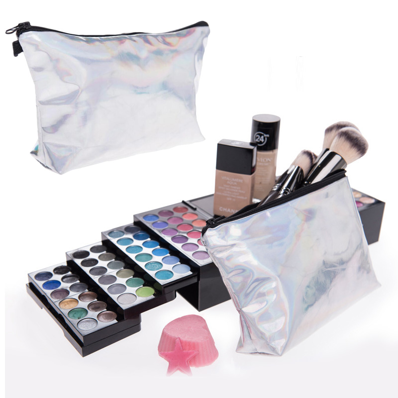 Pouch Ladies Travel Portable Zipper Cosmetic Bag Holder Clutch  Laser PU Leather Waterproof Women Makeup